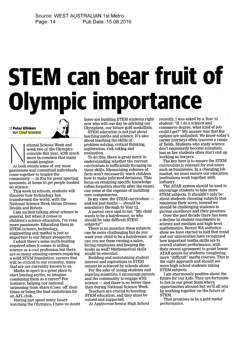 Chief scientist in the news stem can bear fruit of olympic inheritance august 2016 malvernweather Images